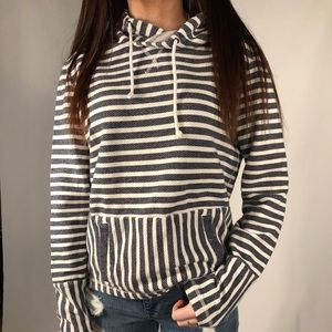 J Crew reverse French terry striped hoodie